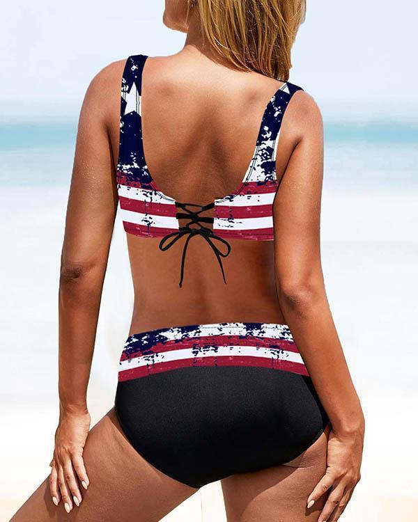 Multi-Pattern Lace up Print Bikini Sets