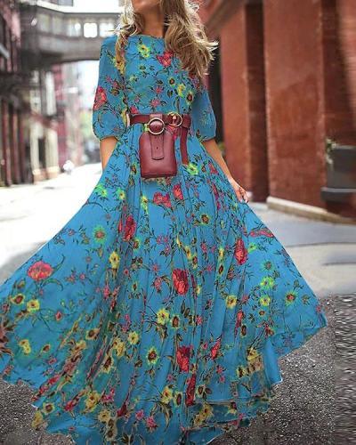 Elegant Floral Print Half Sleeve Maxi Dresses