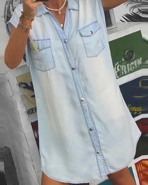 Women Light Denim Shirt Dress