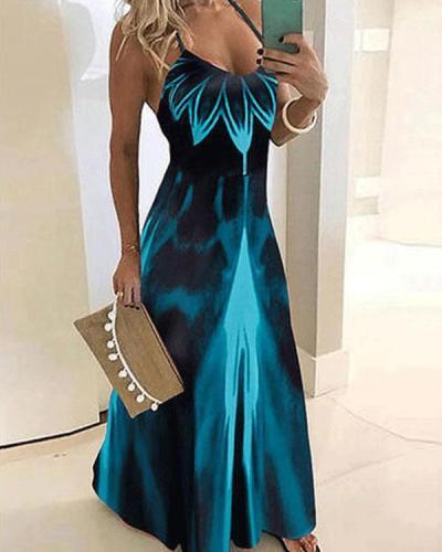 Women's Ombre Sundress Sling Maxi Dress