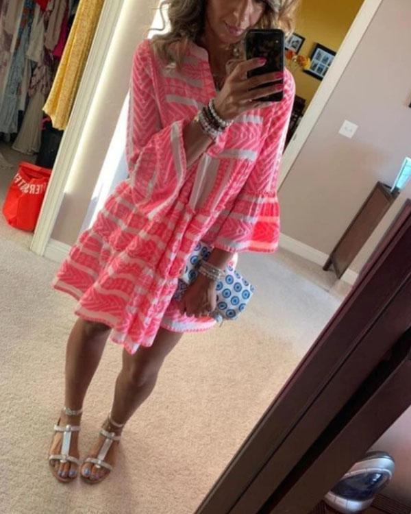 Fashion V-Neck Print Holiday Dress