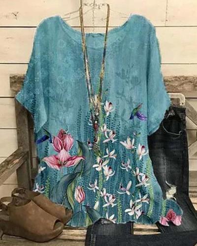 Women's Shirt Floral Printed Summer Tops
