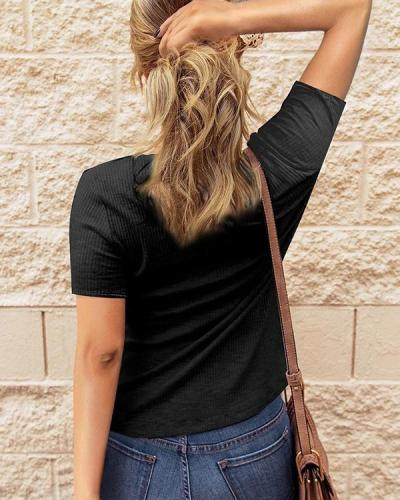 Casual Button Short Sleeves Blouse