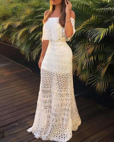 Elegant Wedding Dress Lace Crochet Bodycon Dress