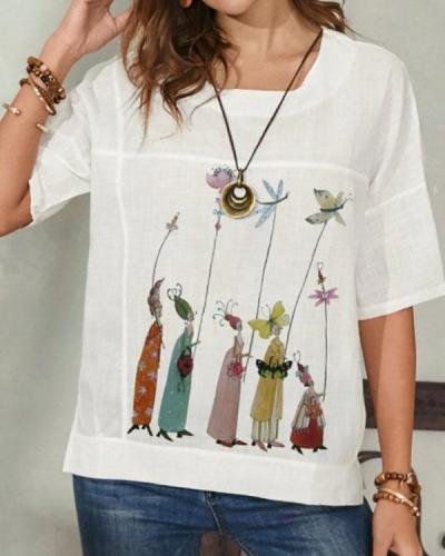 Women's Linen Printed Summer Tops
