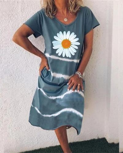 Women Flower Stripe V Neck Short Sleeve Midi Dress