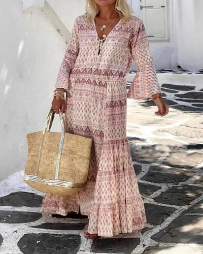 Bohemian Holiday Ruffle Printed Flare Sleeve Lace up Maxi Dress