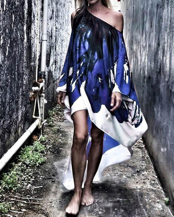 Personalized Print Oblique Shoulder Flowy Beach Dresses Bikini Cover-ups