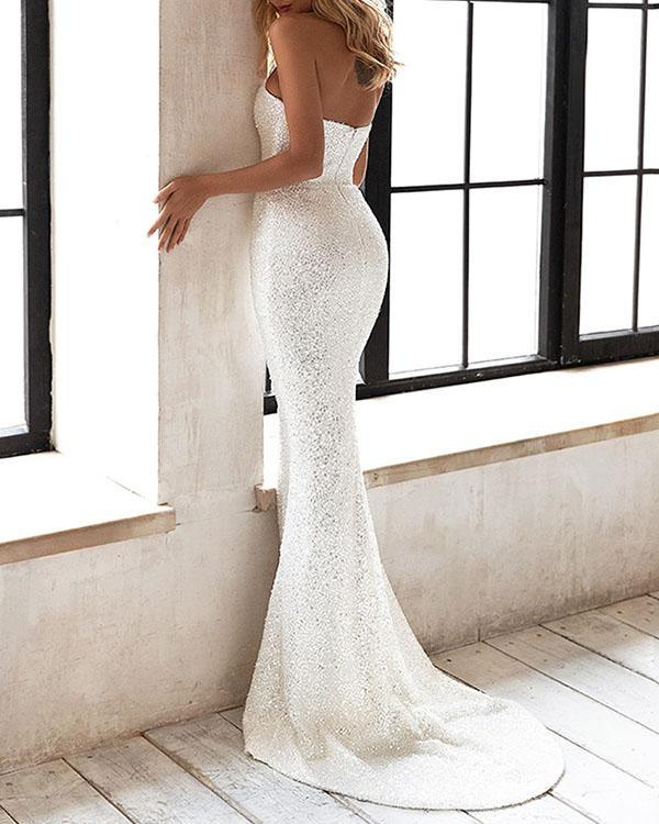 Elegant Wedding Dress Sequin Knotted Bodycon Dress