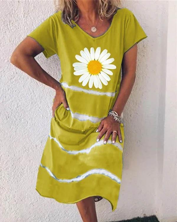 Women Flower Stripe V Neck Short Sleeve Midi Dress