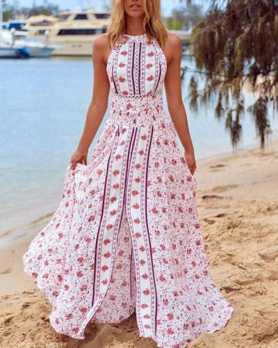 Women Halter Neck Floral Vacation Slit Maxi Dress