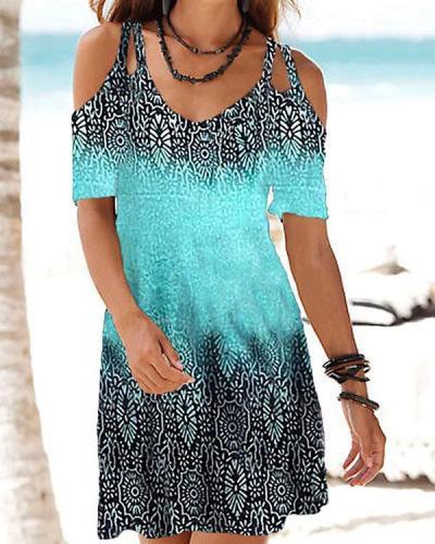 Bohemian Sexy Cold Shoulder Hollow V Neck Dress