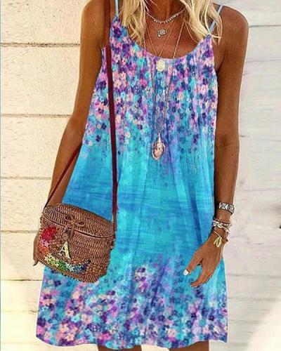 Women Tunic Beachside Spaghetti Strap Multifloral Mini Dresses