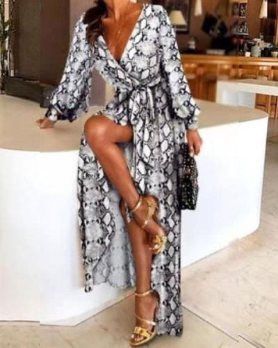 Early Spring Long Sleeve V-Neck Print Wrap Maxi Dress