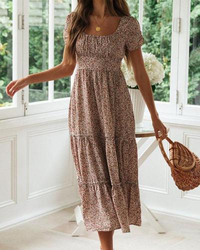 Women's French Chic Print Highwaist Tiered Dress