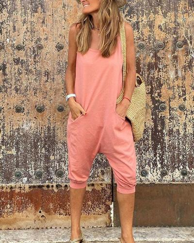 Womens Casual Loose Spaghetti Strap Pockets Jumpsuit