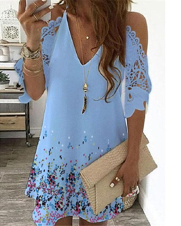 Women Summer Sexy V-neck Print Dress