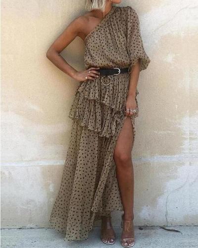 Women's Oblique Shoulder Polka Dot Tiered Ruffle Dress