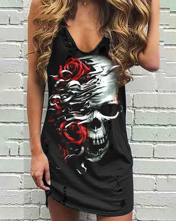 Women Sleeveless Summer Fashion Skull and Rose Print Tank Dress