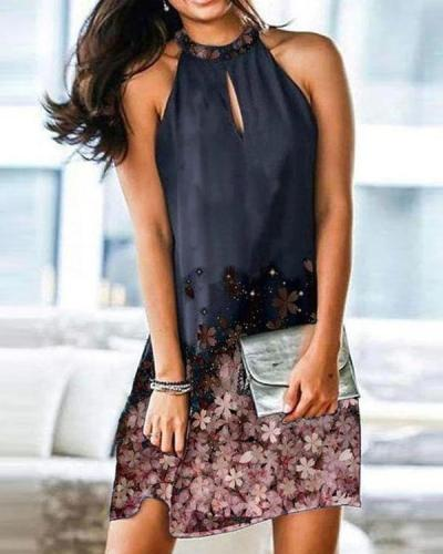 Chic Front Cut-Out Sleeveless Print Mini Dress