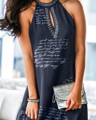Halter-neck Letter Print Sexy Mini Dress