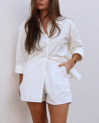 Solid Cotton Casual Comfy Shirt&Shorts Set