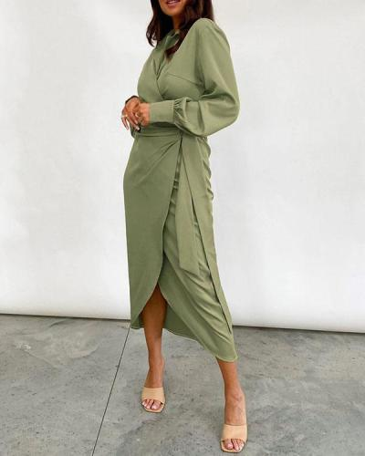 Women's Long Sleeve Wrap Lace up Midi Dress
