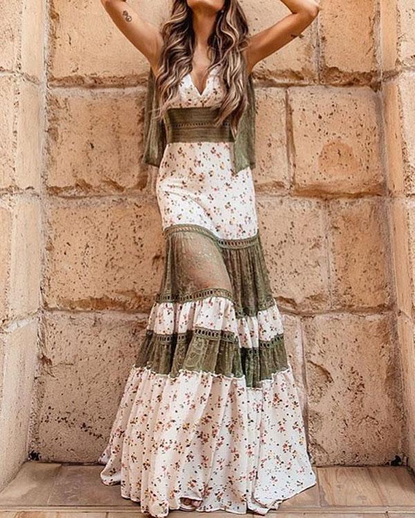Women Plus Size Lace Patchwork Charming Floral Dress