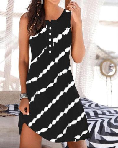 Stripe Printing Buttons Sleeveless Dress