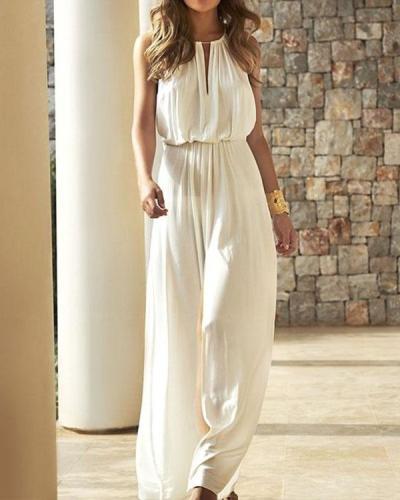 Womens Elegant White Elastic Waist Wide Leg Jumpsuit