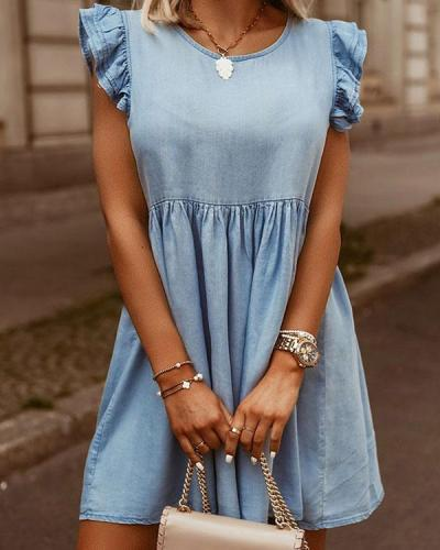 Fashion Round Neck Ruffle Hem Denim Dress