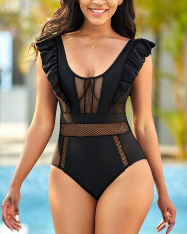 Flounce Mesh Stitching One Piece Swimwear