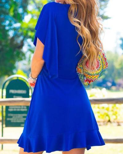 Blue V Neck Holiday Printed Swing Dresses
