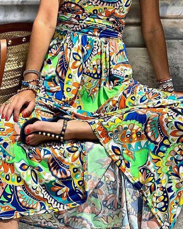 Printing One Shoulder Sleeveless Bohemian Long Dress