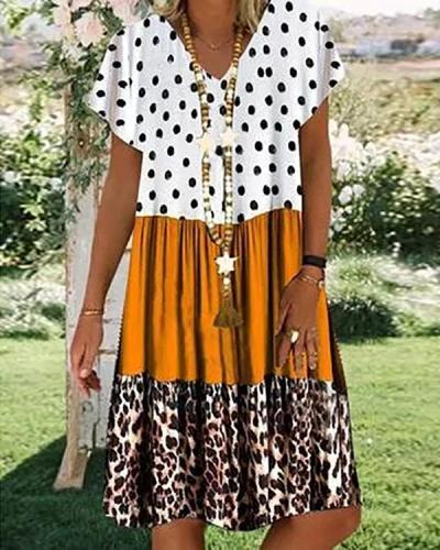 Color Block V Neck Short Sleeve Printed Midi Dresses