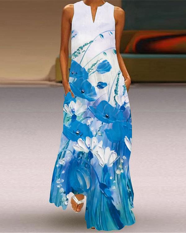 Women's Fashion Floral Print Sleeveless V-Neck Dress