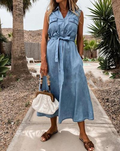Fashion Button up Sleeveless Denim Shirt Dress with Waistband