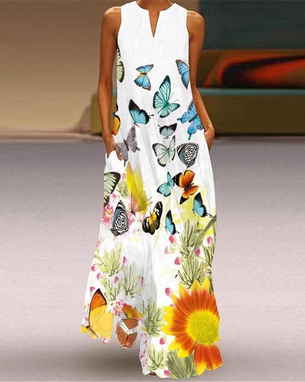 Sleeveless Summer Pockets V-neck Women Printed Dress