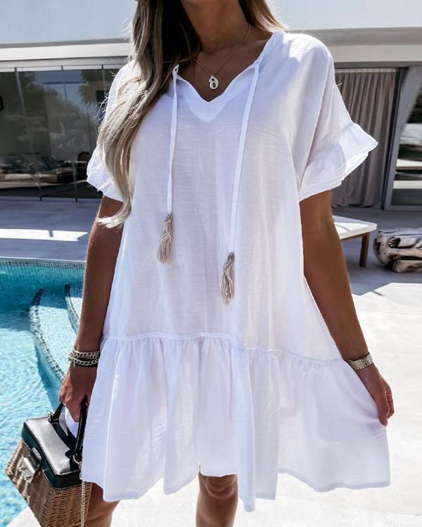 Solid Color V Neck Drawstring Mini Ruffled Dress