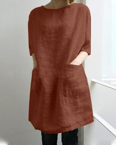Plus Size Solid Half Sleeve Crew Neck Pocket Linen Dress