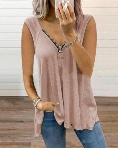 Sexy Solid V Neck Sleeveless Zipper Tank&Vest Tops
