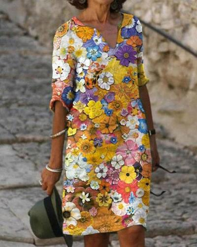 Casual Floral Tunic V-Neckline Half Sleeve Shift Dress