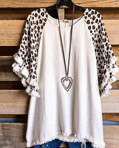 Women's Leopard Tassel Short-sleeved Tops