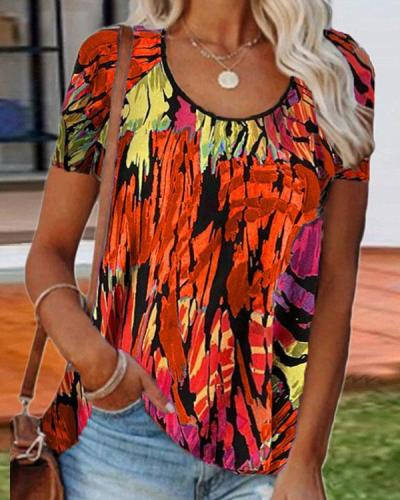 Women's Floral Printed Short-sleeved T-shirt Top