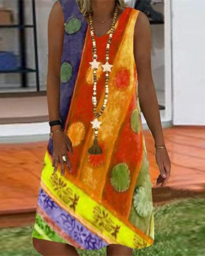 Vintage Summer Print Sleeveless Dress