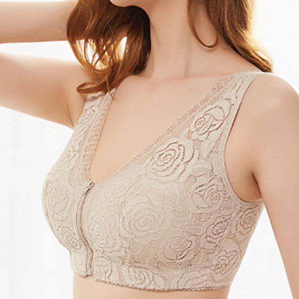 Wireless Rose Lace Zip Front Soft Gather Breathable Cotton Lining Wide Shoulder Straps Sleep Bras
