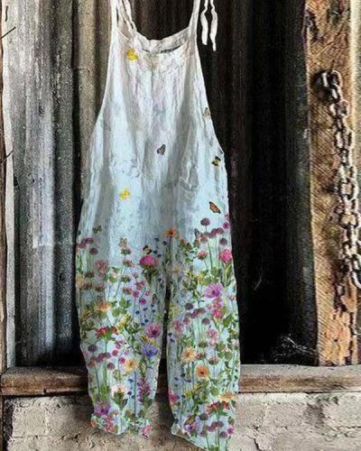 Women Plus Size Lace up Strap Print Women Jumpsuits