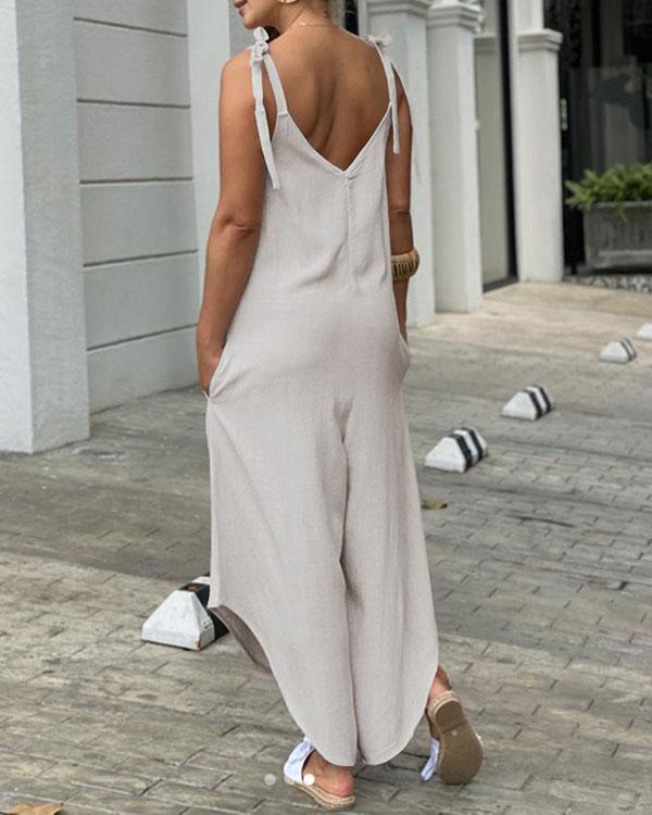 Women Sleeveless Playsuit Wide Leg Asymmetrical Bib Cargo Pants Pockets Tank Jumpsuit