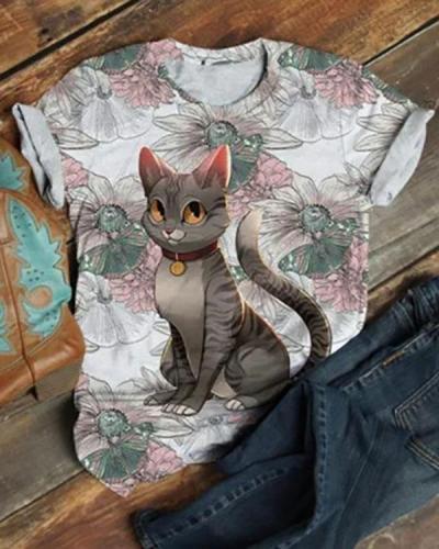 Cute Cat Animal Printed Short Sleeve T-shirt