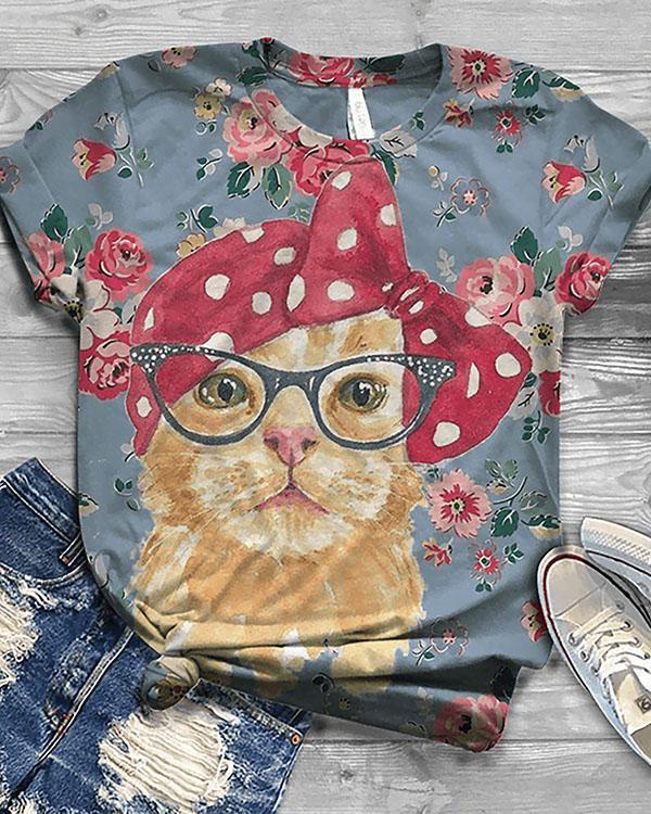 Women's Cute Cat Animal Printed Short Sleeve T-shirt